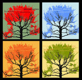 Set of 4 autumn vector trees, backgrounds for text — Stock Vector