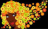 Vector cute african girl with floral hairs — Stock Vector