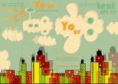 Vektor-Stadt mit hellen Gebäude, Wolken, Grunge Design und Hintergrund für Text mit Transparenz-Effekt — Stockvektor
