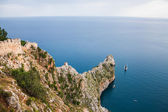 Sea, mountain and old fortress in Alanya, Turkey — Stock Photo