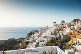 Sunset in Oia on beautiful Santorini island, Greece — Stock Photo