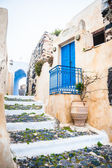 Old street in Pyrgos village on the island Santorini, Greece — Stock Photo