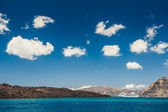 Beautiful sky clouds and cruise ship near the Greek Islands — Zdjęcie stockowe