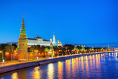Overview of downtown Moscow at night time — Стоковое фото