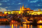 Overview of old Prague from Charles bridge — Stock Photo