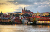 Overview of old Prague from Charles bridge side — Stock Photo