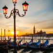 Gondolas floating in the Grand Canal - Stock Photo