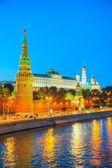Overview of downtown Moscow at night time — Stock Photo