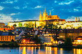 Overview of old Prague from Charles bridge side — Stok fotoğraf