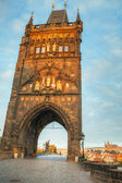 Charles bridge in Prague at sunrise time — Stock Photo