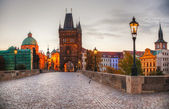 Charles bridge in Prague early in the morning — Stock Photo