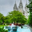 Fountain in front of the Mormons' Temple in Salt Lake City, UT — Stock Photo