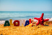Wooden colorful word 'Aloha' on the sand — Stockfoto