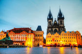 Church of Our Lady before Tyn in Prague at sunrise — Stok fotoğraf