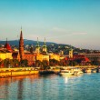 Overview of Budapest as seen from Szechenyi bridge - Stock Photo