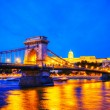 Szechenyi chain bridge in Budapest, Hungary - Stock Photo