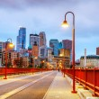 Downtown Minneapolis, Minnesota at night time - Stock Photo