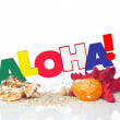 "Foto Stock: Word ""Aloha"" with starfish and shells"