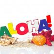 """Word """"Aloha"""" with starfish and shells — Stock Photo"""