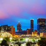 Downtown Atlanta at night time — Stock Photo
