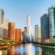 Stock Photo: Chicago downtown with Trump International Hotel and Tower in Chi