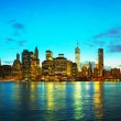 New York City cityscape with Brooklyn bridge — Stock Photo