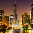 Stock Photo: Trump International Hotel and Tower in Chicago, IL in night