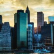New York City skyscrapers at sunset — Stock Photo