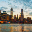 New York City cityscape at sunset — Stock Photo
