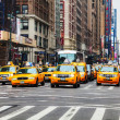 Stock Photo: Yellow taxis at New York City street