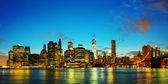 New york city panorama při západu slunce — Stock fotografie
