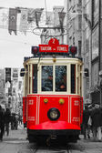 Old-fashioned red tram at the street of Istanbul — Stock Photo