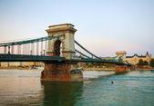 Szechenyi chain bridge in Budapest, Hungary — Zdjęcie stockowe