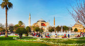 Hagia Sophia in Istanbul, Turkey in the morning — Stok fotoğraf
