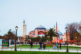 Hagia Sophia in Istanbul, Turkey in the evening — Stock Photo
