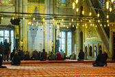 Blue Mosque interior with the muslims — Stock Photo