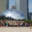 Cloud Gate sculpture in Millenium park on May 18, 2013 in Chicago. — Stock Video
