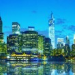 New York City cityscape panorama at sunset — Stock Photo
