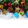 Christmas garland with evergreen branches — Stock Photo