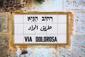 Via Dolorosa street sign in Jerusalem — Stock Photo
