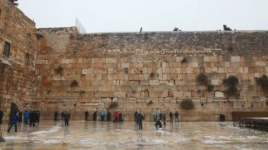 Western Wall with praying pilgrims — Stock Video