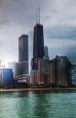 Downtown Chicago, IL at sunset — Stock Photo