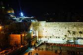 Il muro occidentale a gerusalemme, israele nella notte — Foto Stock