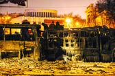 Overview of the barricade at Hrushevskogo street in Kiev, Ukrain — Stock Photo