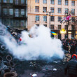 Overview of barricade at Hrushevskogo street in Kiev, Ukrain — Stock Photo #39510119