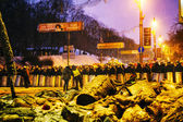 BBC reporters in front of the riot police in Kiev — Stock Photo