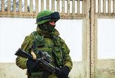 Russian soldier in Perevalne, Crimea — Stock Photo