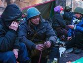 People at the barricade in Kiev, Ukraine — Stock Photo