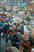 People at the barricades in Kiev, Ukraine — Stock Photo