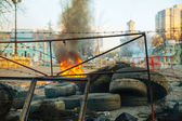 Burning tires at the barricade in Kiev — Stock Photo
